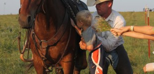 Outrider Matthew Gant allows a boy to pet his horse during intermission of the symphony. People lined up to see the outriders on their horses.